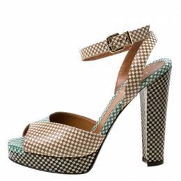 Fendi Multicolor Checkerboard Leather Ankle Strap Peep Toe Sandals Size 39 216819
