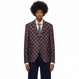 Gucci Navy GG Diamond Blazer 575281 ZAAJ1