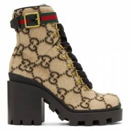 Gucci Beige Wool GG Boots 583349 G3850