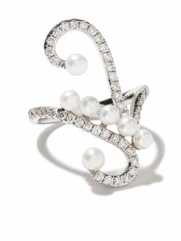 As29 18kt white gold Lucy pearl and diamond knuckle ring LUCY037