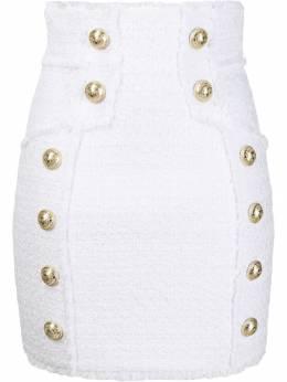 Balmain юбка мини с декоративными пуговицами SF14057C137