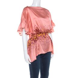 Gianfranco Ferre Peach Printed Silk Ruffle Sleeve Belted Blouse M 216583