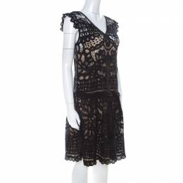 Marc By Marc Jacobs Black Crochet Lace Sleeveless Short Dress M 217535