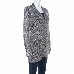 Zac Posen Silver Sequin Embellished Knit Long Sleeve Cardigan L 217416