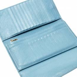 Miu Miu Blue Leather Madras Flap Wallet 216047
