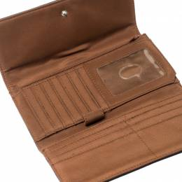 Aigner Brown/White Signature Canvas Continental Flap Wallet 215940