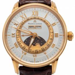 Maurice Lacroix Silver 18K Rose Gold Masterpiece Phase De Lune Men's Watch 40MM