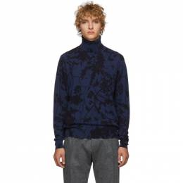 Etro Black and Blue Stampa Turtleneck 1M964 9668
