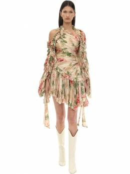 Floral Printed Crepe De Chine Mini Dress Zimmermann 70IGF9004-QU5USVFVRSBQRU9OWQ2