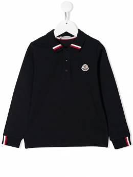 Moncler Kids рубашка-поло с воротником в полоску 831240584632