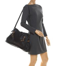 Chloe Black Leather Large Paraty Shoulder Bag 216056