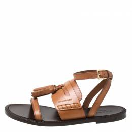 Burberry Cognac Brown Leather Bethany Tassel Detail Flat Sandals Size 39 217453