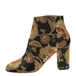 Aquazzura Multicolor Floral Jacquard Fabric Ankle Boots Size 38 218925