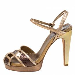Chloe Gold/Brown Criss Cross Leather and Snakeskin Platform Sandals Size 37 216170