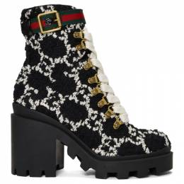 Gucci Black Tweed GG Ankle Boots 583349 HS810