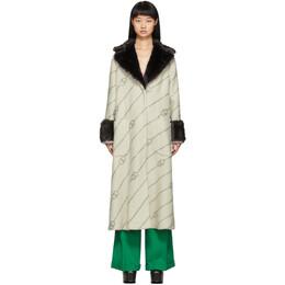 Gucci Off-White Faux-Fur Collar Crystal GG Coat 576107ZAB6X