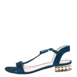 Nicholas Kirkwood Blue/Black Glitter Fabric T-Strap Casati Pearl Sandals Size 38 216496
