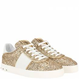 Valentino Gold/White Glitter and Leather Flycrew Sneakers Size 40 219452