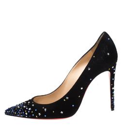 Christian Louboutin Black Suede Crystal Star Embellished Gravitanita Pointed Toe Pumps Size 37.5 218886