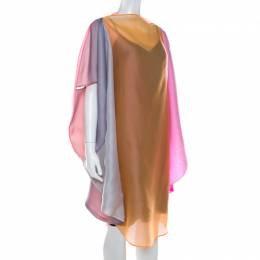Jil Sander Multicolor Ombre Silk Organza Midi Dress S 215630