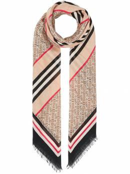 Burberry шарф в полоску Icon Stripe с монограммой 8018037