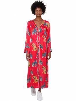 Платье Миди Из Атласа С Принтом Kirin 70IDLH011-MjA4MA2