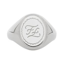 Fendi Silver Karligraphy Signet Ring 7AJ177 B08