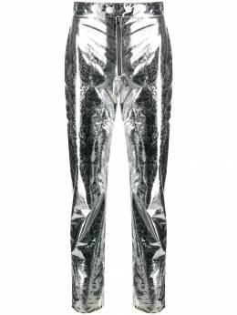 MSGM укороченные брюки с эффектом металлик 2742MDP119195805