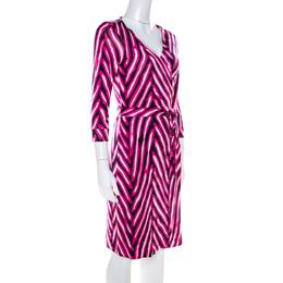 Diane Von Furstenberg Pink and Blue Striped Silk New Julian Wrap Dress M 218679