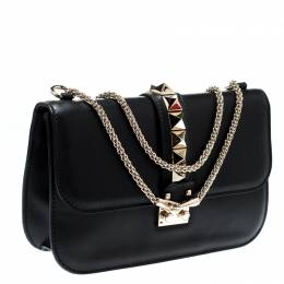 Valentino Black Leather Large Glam Lock Chain Shoulder Bag 299578