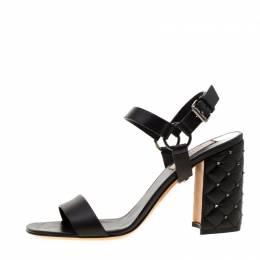 Valentino Black Leather Rockstud Spike Block Heel Sandals Size 38 291027