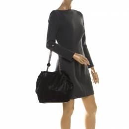 Stella McCartney Black Faux Leather Bucket Bag 216636