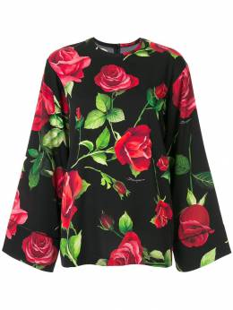 Dolce&Gabbana блузка с широкими рукавами и цветочным принтом F71M4TFSAY1