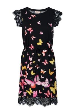 Черное платье с кружевной отделкой Twin-Set 1506143445