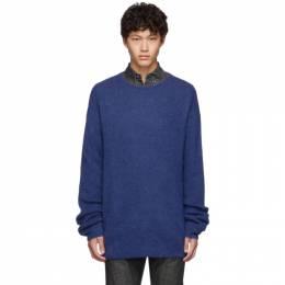 Neil Barrett Blue Mohair 3 GG Slim Long Sweater BMA986 M621