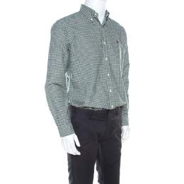 Ralph Lauren Green & White Checkered Cotton Classic Fit Shirt M 218944