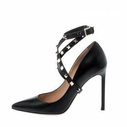 Valentino Black Leather Rockstud Trim Ankle Wrap Pointed Toe Pumps Size 39 218626
