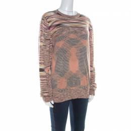 Missoni Multicolor Striped Cashmere & Silk Blend Long Sleeve Sweater XL 219670