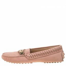 Tod's Pale Pink Suede Whip Stitch Detail Penny Loafers Size 36 218987