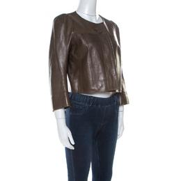Chloe Khaki Green Lambskin Front Button Jacket M