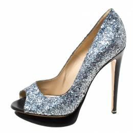 Nicholas Kirkwood Silver/Black Glitter Leather Double Platform Peep Toe Pumps Size 38 217412