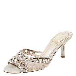 Rene Caovilla Beige Lace Crystal Embellished Peep Toe Slides Size 37 219709