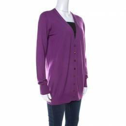 Loro Piana Purple Cashmere Long Cardigan L 219504