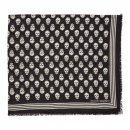 Alexander McQueen Black and White Biker Scarf 5909343418Q