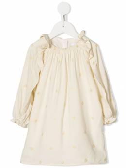 Chloe Kids платье с монограммой и длинными рукавами C02240593