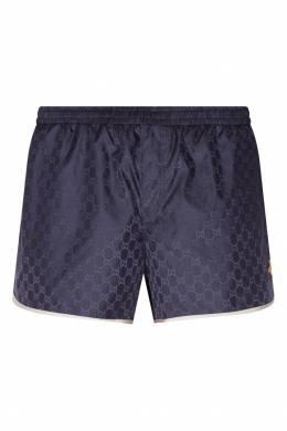 Синие шорты с контрастной отделкой Gucci 470148080