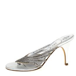 Gina Silver Crystal Embellished Leather Sandals Size 36.5 218997