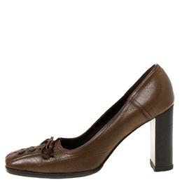 Miu Miu Brown Leather Bow Detail Block Heel Pumps Size 37 219832