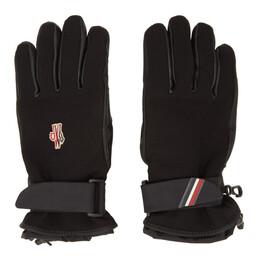 Moncler Grenoble Black Leather Palm Gloves 00526 00 53063