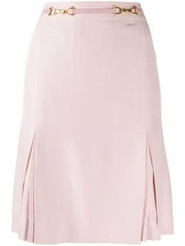 Celine Pre-Owned юбка со складками и поясом 130458